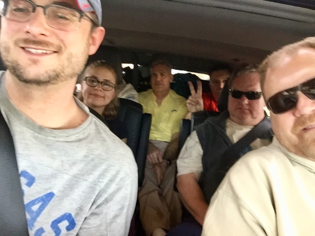 The fly group that squeezed many large guys and one brave gam in a Toyota Highlander on our way to Mexico